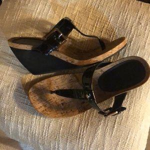 Ralph Lauren Rossanne Black Leather Wedge Sandals